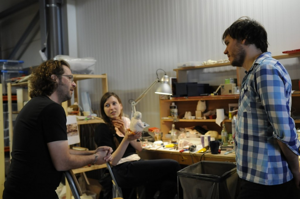 Emma, Marc and Steven De Beul discussing animation and rigging