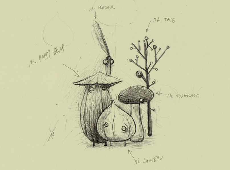 Botanicula - initial character drawing