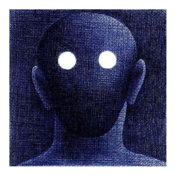 Le fils du Roi - bic bleu et noire sur carton (image via Galerie Martel)
