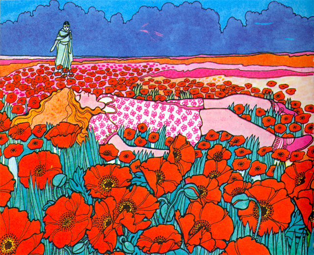 Illustration by Ivan Ripley for The Poppy Field by Jackie Bradnam (1970). Image courtesy of gilliflower.http---www.flickr.com-photos-gilliflower-