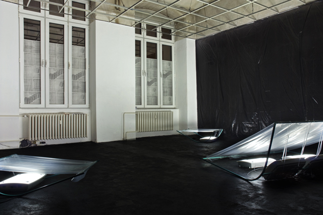 Martin Kohout, 5006 years of daylight and silent adaptation (2014). Install view. Image courtesy of Exile.