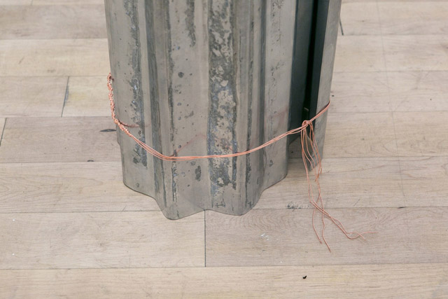 12.Lewis teague Wright, Suspicions In, For, Without Paradise, 2014, Corrugated galvanised steel sheet and copper plated bronze, 244 x 29 Ø (detail2) email