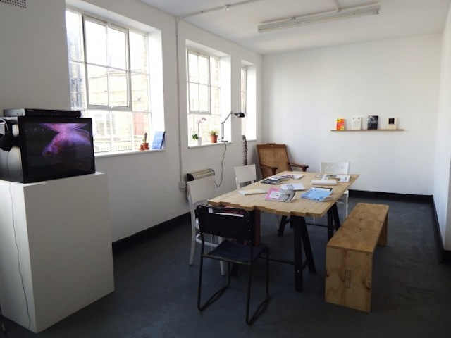 Temporary Research Library and Michael E. Smith screening, installation view. Image courtesy DRAF.