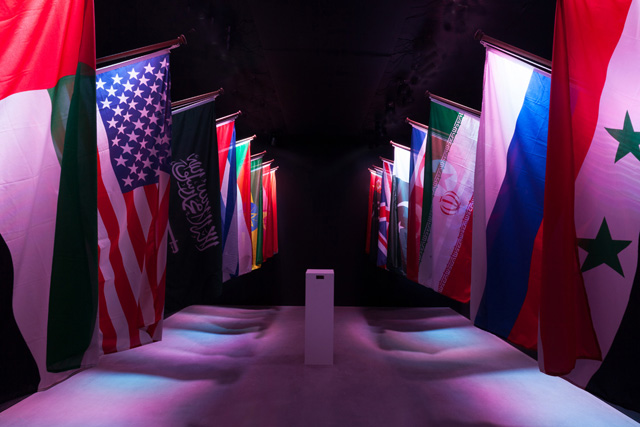 Constant Dullaart, 'The Censored Internet', 19 flags, lasers, domain name, 2014. Courtesy the gallery.
