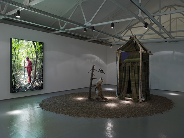 Right to left: AA Bronson + Ryan Brewer, 'Red' (2011), 'Treehouse' (2015). Installation view. Courtesy Maureen Paley, London.