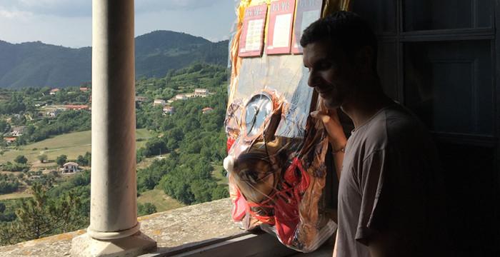 Angelo Plessas with Danai Anesiadou's work, The Eternal Internet Brotherhood/Sisterhood (2015) @ Castello di Fosdinovo, July 6 to 15. Courtesy the artist.