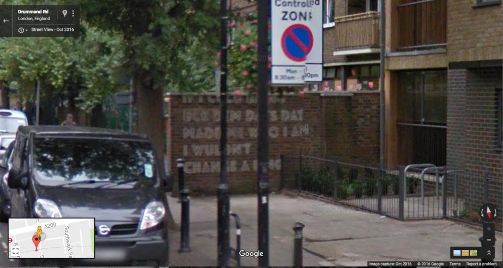 Google Street View screenshot of Ilja Karilampi's reappropriated 'Medulla Oblongata' (2014) commission for The Woodmill, London.